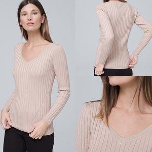 WHBM Sweater Pullover V Neck Ribbed Slim M Neutral